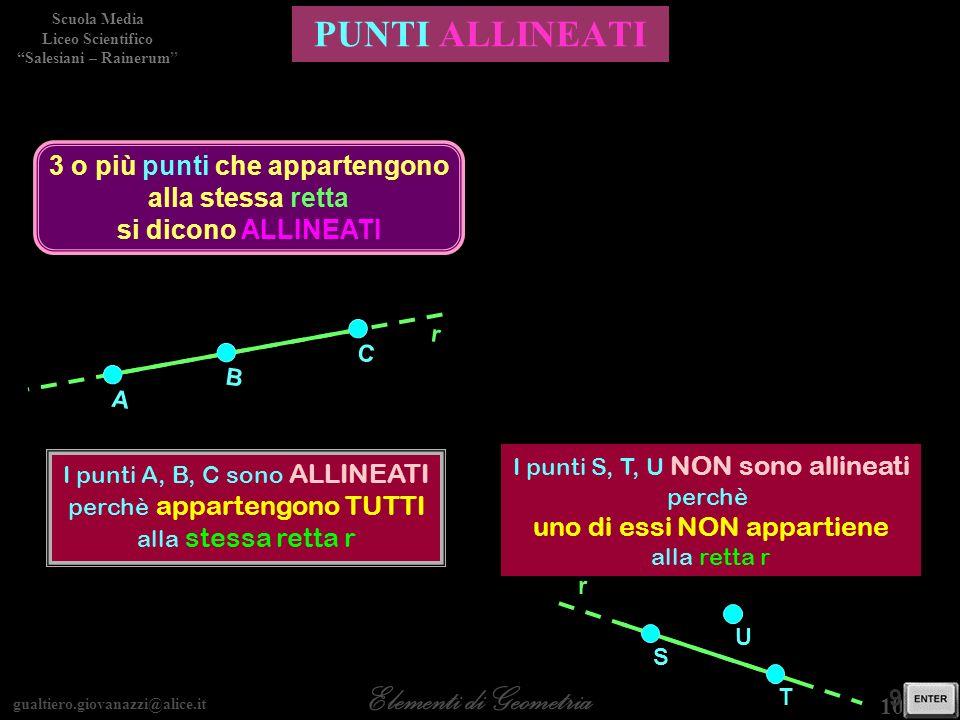 gualtiero.giovanazzi@alice.it Elementi di Geometria Scuola Media Liceo Scientifico Salesiani – Rainerum 10 / 30 9 / 28 PUNTI ALLINEATI 3 o più punti c