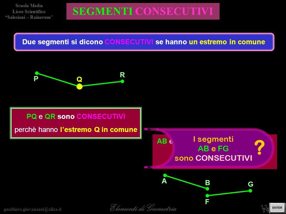 gualtiero.giovanazzi@alice.it Elementi di Geometria Scuola Media Liceo Scientifico Salesiani – Rainerum 14 / 30 13 / 28 SEGMENTI CONSECUTIVI Due segme