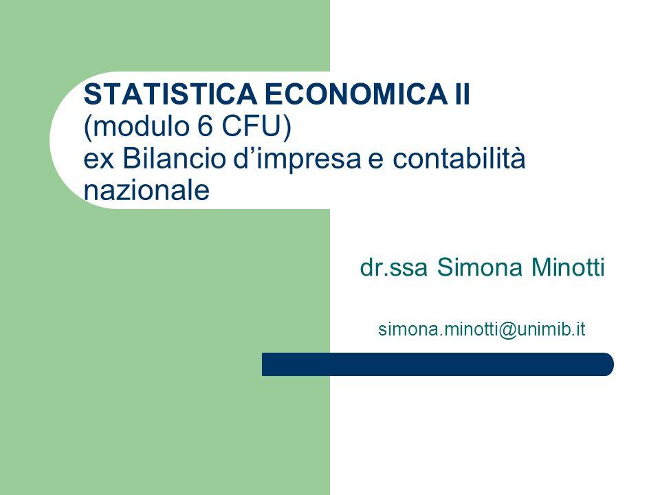 STATISTICA ECONOMICA II (modulo 6 CFU) ex Bilancio dimpresa e contabilità nazionale dr.ssa Simona Minotti simona.minotti@unimib.it