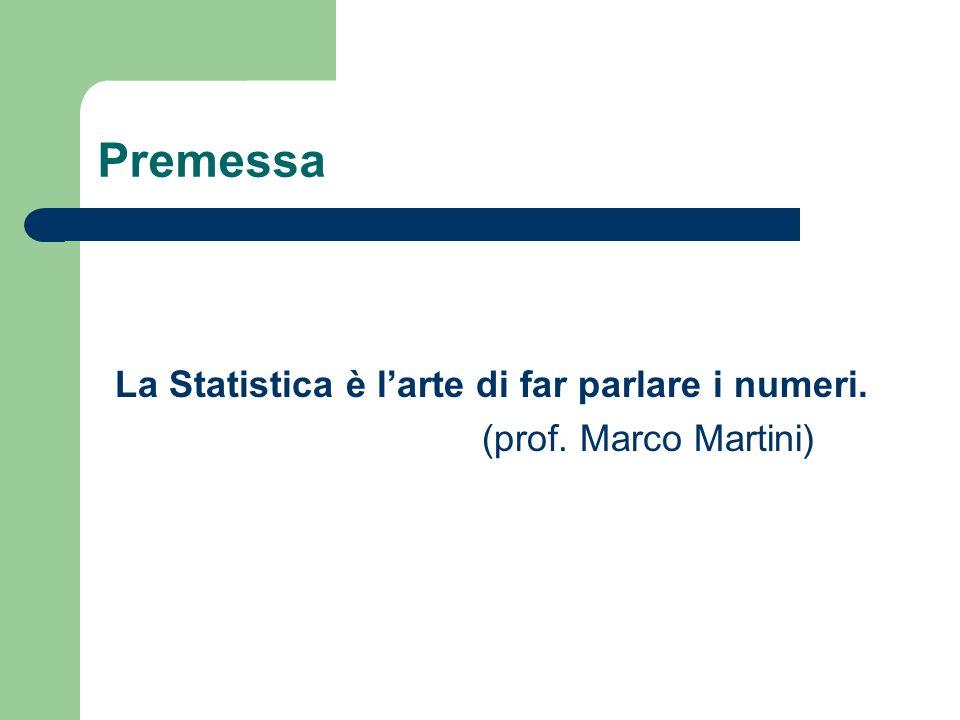 Premessa La Statistica è larte di far parlare i numeri. (prof. Marco Martini)
