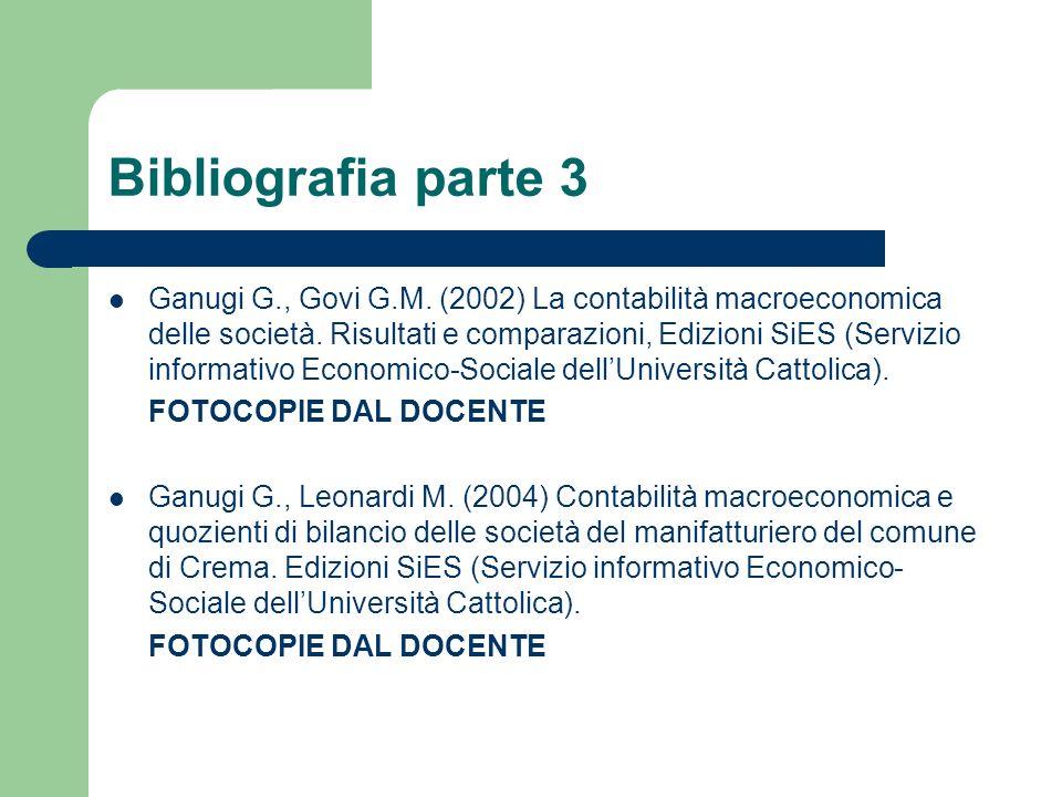 Bibliografia parte 3 Ganugi G., Govi G.M. (2002) La contabilità macroeconomica delle società. Risultati e comparazioni, Edizioni SiES (Servizio inform