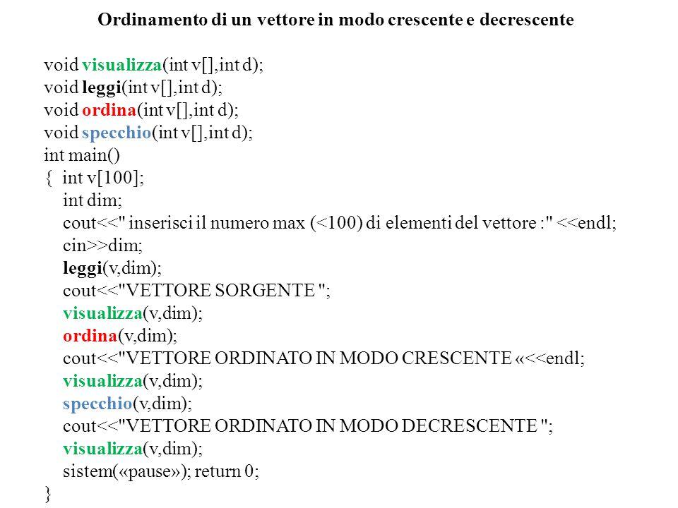 void leggi(vettore v,int d) { for(int i=0;i<d;i++) { cout<< inserisci il valore della cella V [ <<i<< ] <<endl; cin>>v[i]; } void visualizza(vettore v,int d) { cout<< i valori del vettore sono : ; for(int i=0;i<d;i++) { cout<<endl; cout<< <<v[i]; } void ordina(int v[],int d) { int aus,n; n=d; for(int i=0;i<d;i++) { for(int j=0;j<n-1;j++) { if(v[j]>v[j+1]) { aus=v[j]; v[j]=v[j+1]; v[j+1]=aus; } n=n-1; } void specchio(int v[],int d) { int tmp; for(int i=0;i<d/2;i++) { tmp=v[i]; v[i]=v[d-i-1]; v[d-i-1]=tmp; }