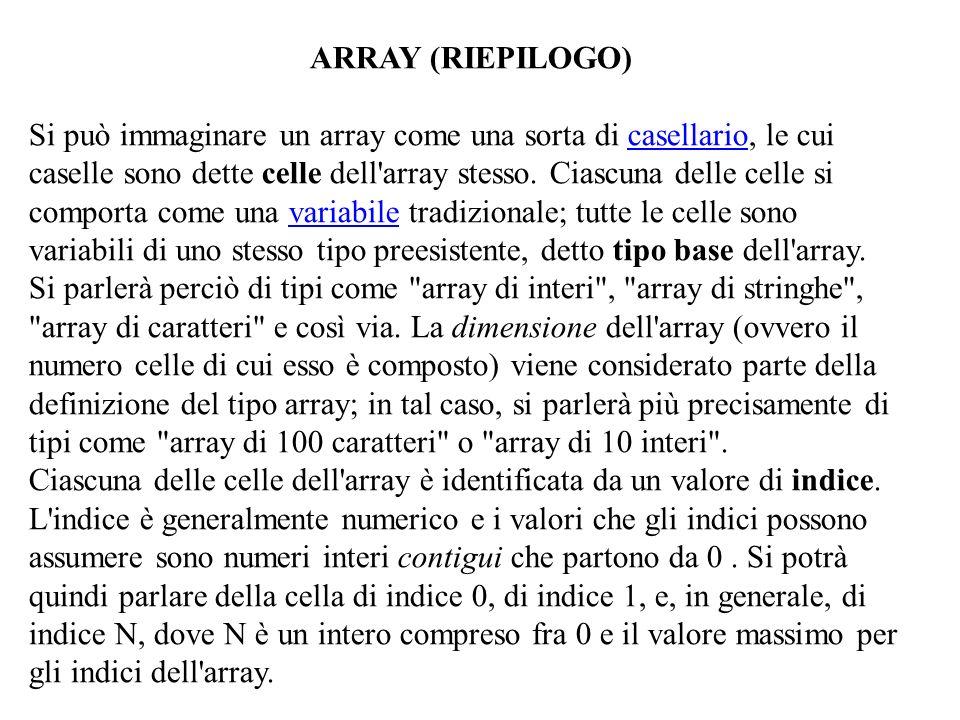 ARRAY (RIEPILOGO) Si può immaginare un array come una sorta di casellario, le cui caselle sono dette celle dell'array stesso. Ciascuna delle celle si