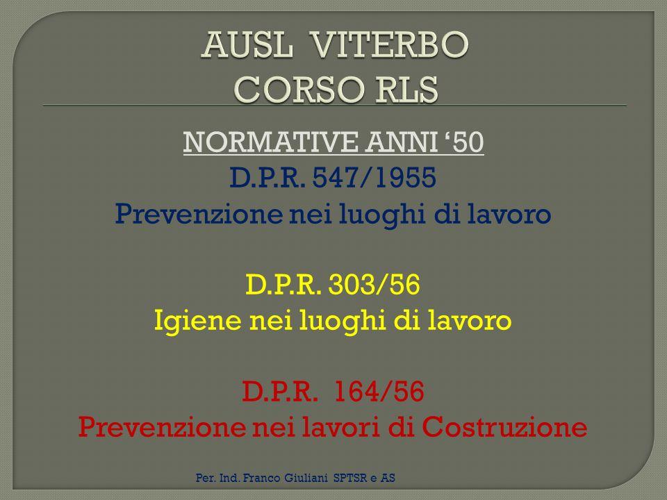 NORMATIVE ANNI 50 D.P.R. 547/1955 Prevenzione nei luoghi di lavoro D.P.R. 303/56 Igiene nei luoghi di lavoro D.P.R. 164/56 Prevenzione nei lavori di C