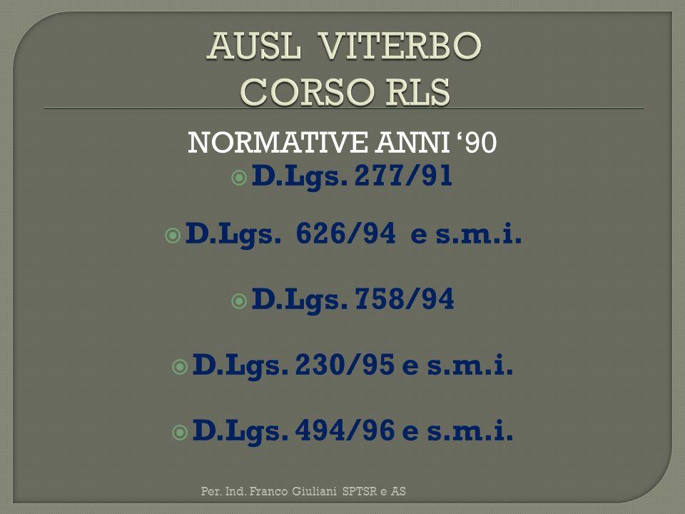 NORMATIVE ANNI 90 D.Lgs. 277/91 D.Lgs. 626/94 e s.m.i. D.Lgs. 758/94 D.Lgs. 230/95 e s.m.i. D.Lgs. 494/96 e s.m.i. Per. Ind. Franco Giuliani SPTSR e A