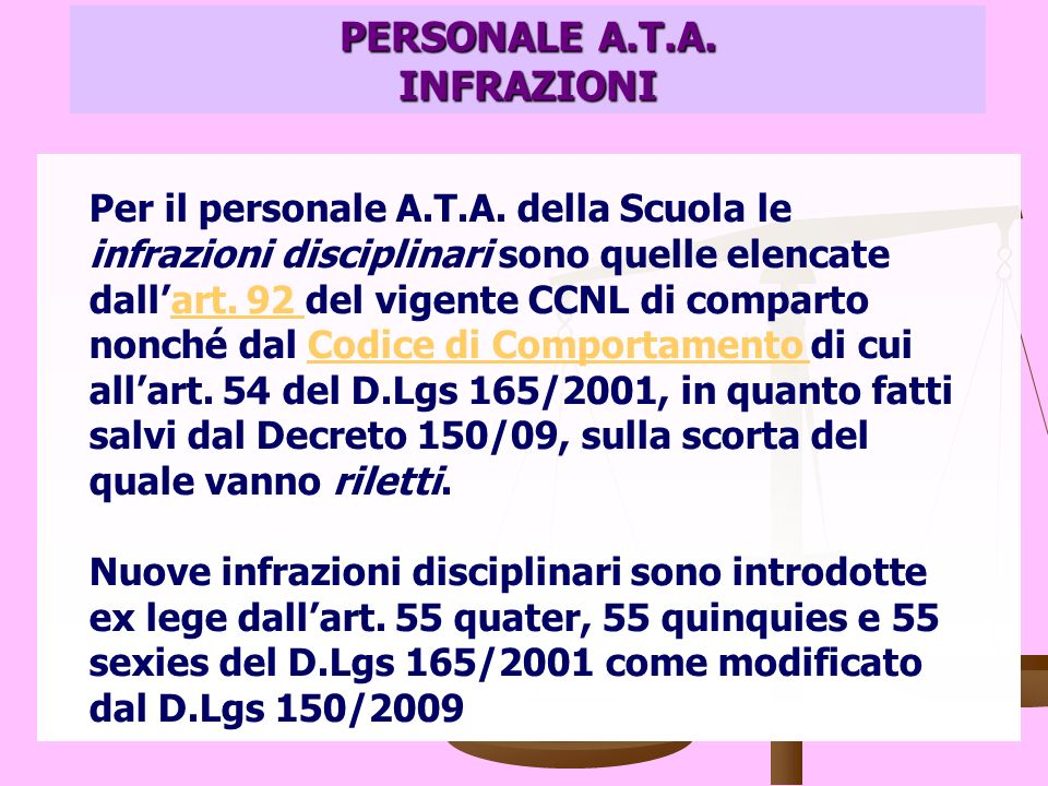 PERSONALE A.T.A. INFRAZIONI Per il personale A.T.A.