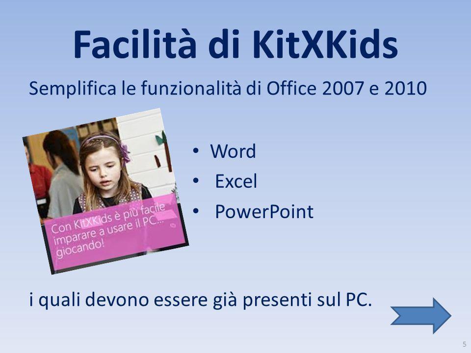 Facilità di KitXKids Semplifica le funzionalità di Office 2007 e 2010 i quali devono essere già presenti sul PC. Word Excel PowerPoint 5