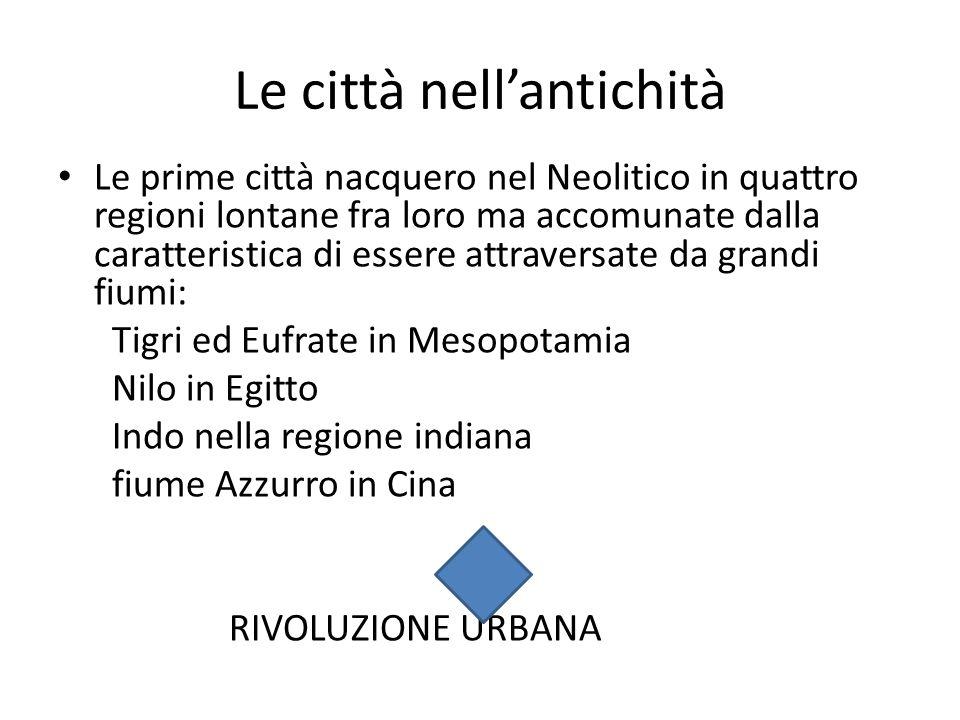 Le prime città nacquero nel Neolitico in quattro regioni lontane fra loro ma accomunate dalla caratteristica di essere attraversate da grandi fiumi: T