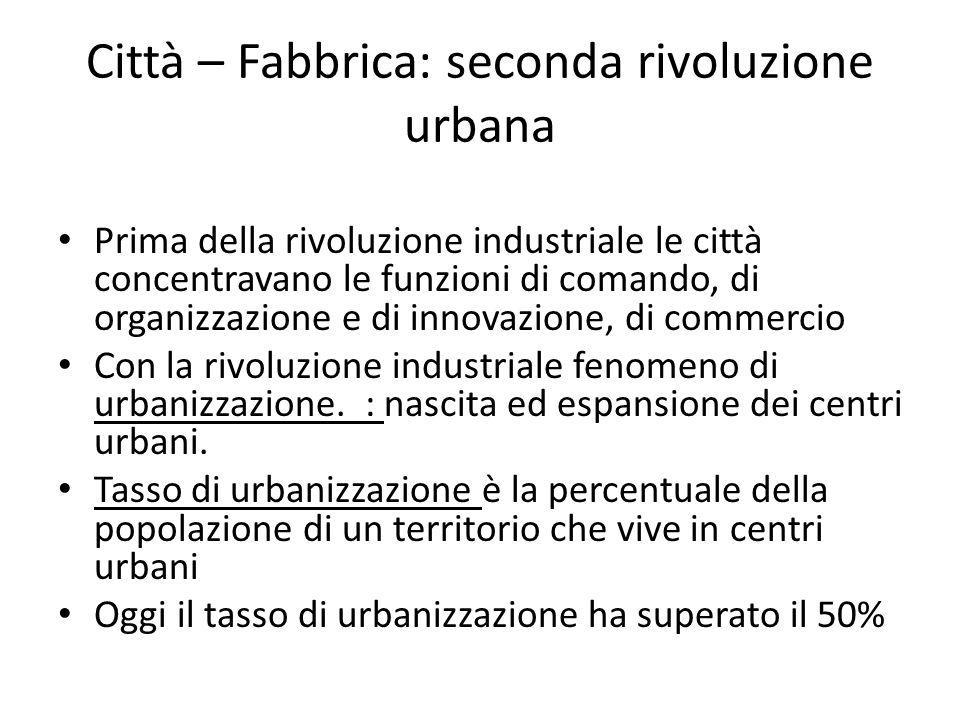 Prima della rivoluzione industriale le città concentravano le funzioni di comando, di organizzazione e di innovazione, di commercio Con la rivoluzione
