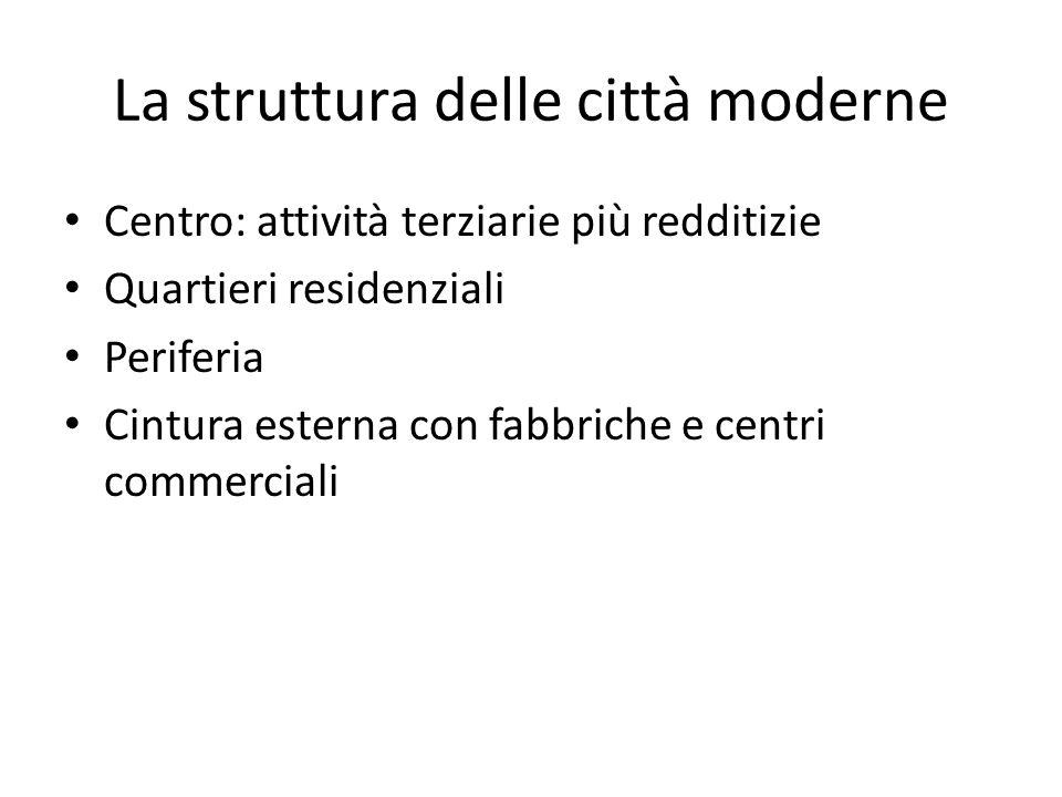 Centro: attività terziarie più redditizie Quartieri residenziali Periferia Cintura esterna con fabbriche e centri commerciali La struttura delle città