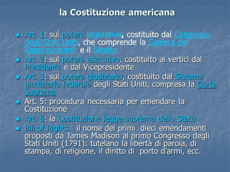 la Costituzione americana Art.1: sul potere Art.