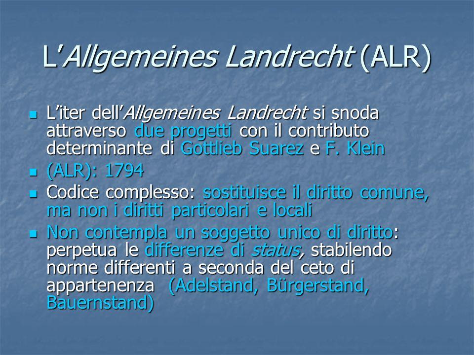 LAllgemeines Landrecht (ALR) Liter dellAllgemeines Landrecht si snoda attraverso due progetti con il contributo determinante di Gottlieb Suarez e F.