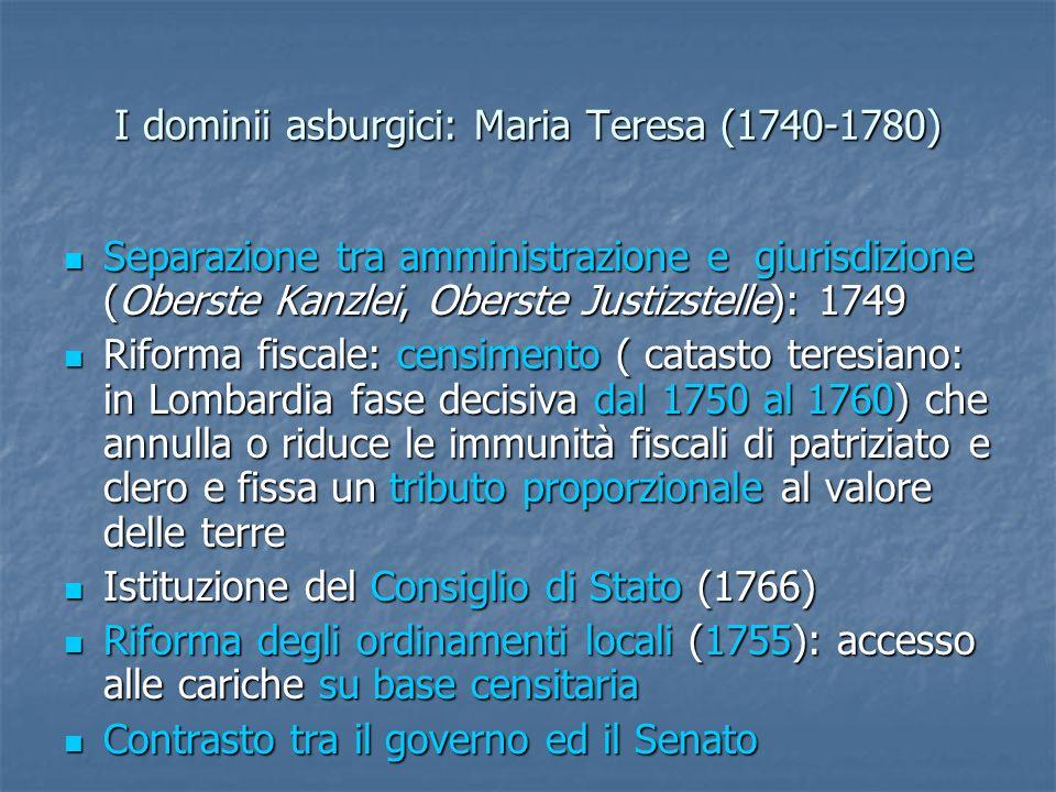Maria Teresa (1740-1780) Inizia liter dellABGB (Codice civile universale austriaco): 1753 Inizia liter dellABGB (Codice civile universale austriaco): 1753 Codex Theresianus (1766): progetto di circa 8000 paragrafi, di un codice di diritto privato diviso in tre libri, dedicati alle persone, alle cose e alle obbligazioni, criticato per la prolissità, eccessiva aderenza al diritto comune e insieme ai diritti provinciali Codex Theresianus (1766): progetto di circa 8000 paragrafi, di un codice di diritto privato diviso in tre libri, dedicati alle persone, alle cose e alle obbligazioni, criticato per la prolissità, eccessiva aderenza al diritto comune e insieme ai diritti provinciali Constitutio criminalis theresiana (1768-1769), ancora ispirata a principi di arretratezza Constitutio criminalis theresiana (1768-1769), ancora ispirata a principi di arretratezza Abolizione della tortura, promossa da Joseph von Sonnenfels (1776) Abolizione della tortura, promossa da Joseph von Sonnenfels (1776)