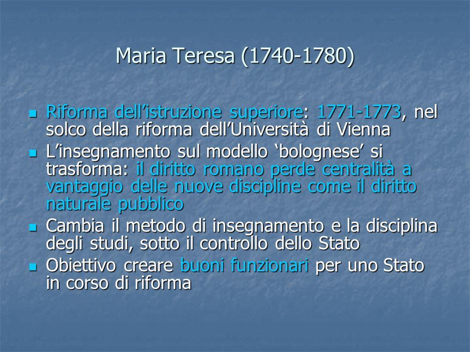 Giuseppe II (1780-1790) Riformista convinto, colto e preparato, realizza una serie di riforme amministrative, giudiziarie e di diritto sostanziale Riformista convinto, colto e preparato, realizza una serie di riforme amministrative, giudiziarie e di diritto sostanziale Istituisce la Giunta economale per i rapporti dello Stato con la Chiesa (giurisdizionalismo) Istituisce la Giunta economale per i rapporti dello Stato con la Chiesa (giurisdizionalismo) Sopprime conventi e monasteri Sopprime conventi e monasteri Abolisce la Ferma Generale affidando lesazione delle imposte direttamente allo Stato Abolisce la Ferma Generale affidando lesazione delle imposte direttamente allo Stato