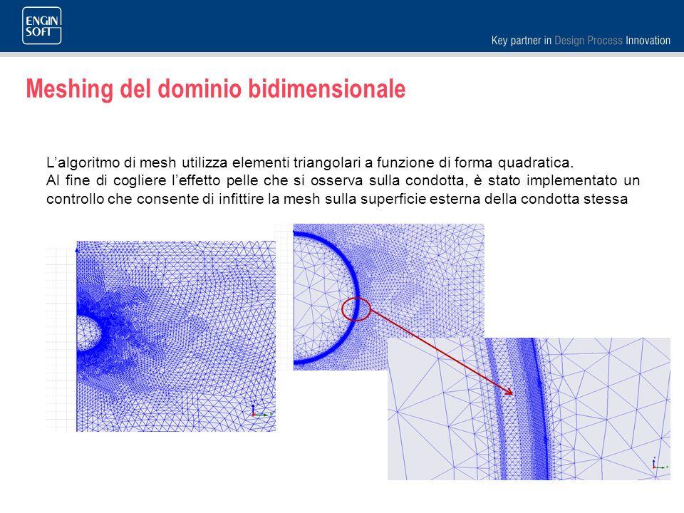 Meshing del dominio bidimensionale Lalgoritmo di mesh utilizza elementi triangolari a funzione di forma quadratica. Al fine di cogliere leffetto pelle