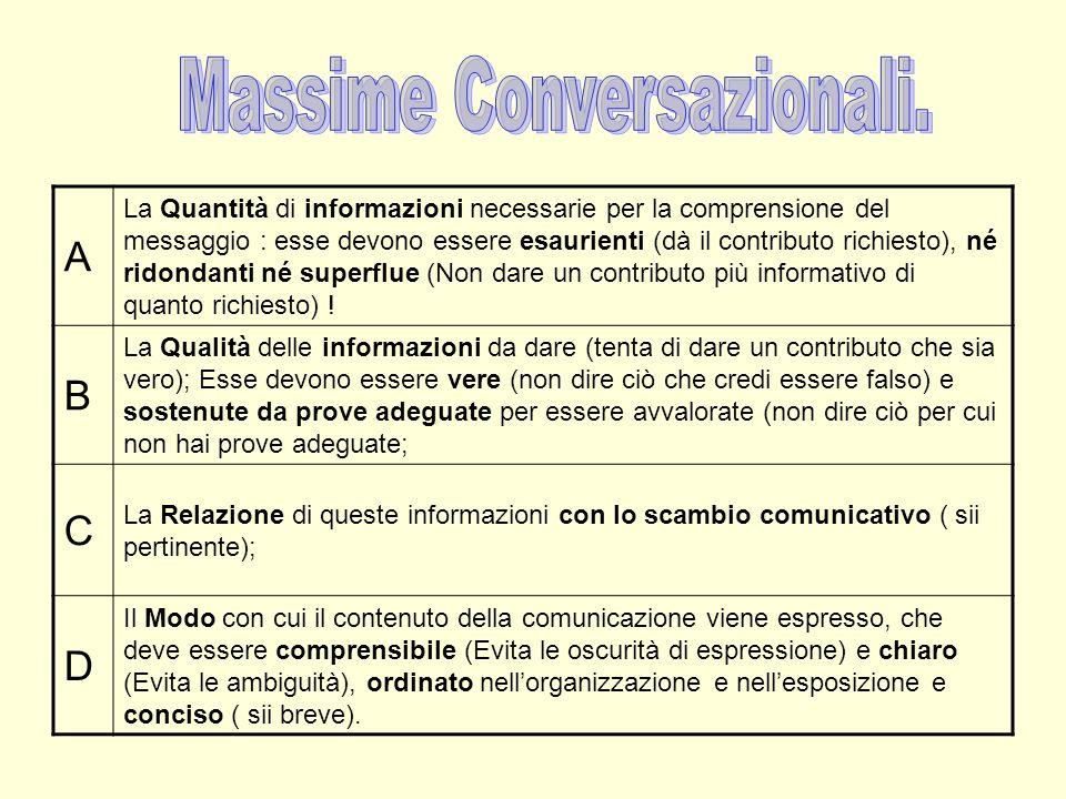 A La Quantità di informazioni necessarie per la comprensione del messaggio : esse devono essere esaurienti (dà il contributo richiesto), né ridondanti