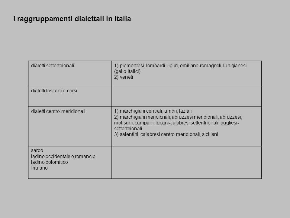 I raggruppamenti dialettali in Italia dialetti settentrionali1) piemontesi, lombardi, liguri, emiliano-romagnoli, lunigianesi (gallo-italici) 2) venet