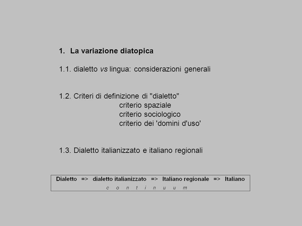 1.La variazione diatopica 1.1. dialetto vs lingua: considerazioni generali 1.2. Criteri di definizione di