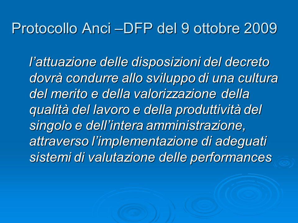 Protocollo Anci –DFP del 9 ottobre 2009 lattuazione delle disposizioni del decreto dovrà condurre allo sviluppo di una cultura del merito e della valorizzazione della qualità del lavoro e della produttività del singolo e dellintera amministrazione, attraverso limplementazione di adeguati sistemi di valutazione delle performances