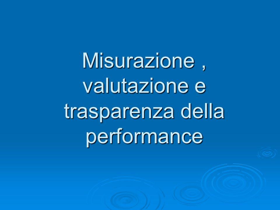 Misurazione, valutazione e trasparenza della performance