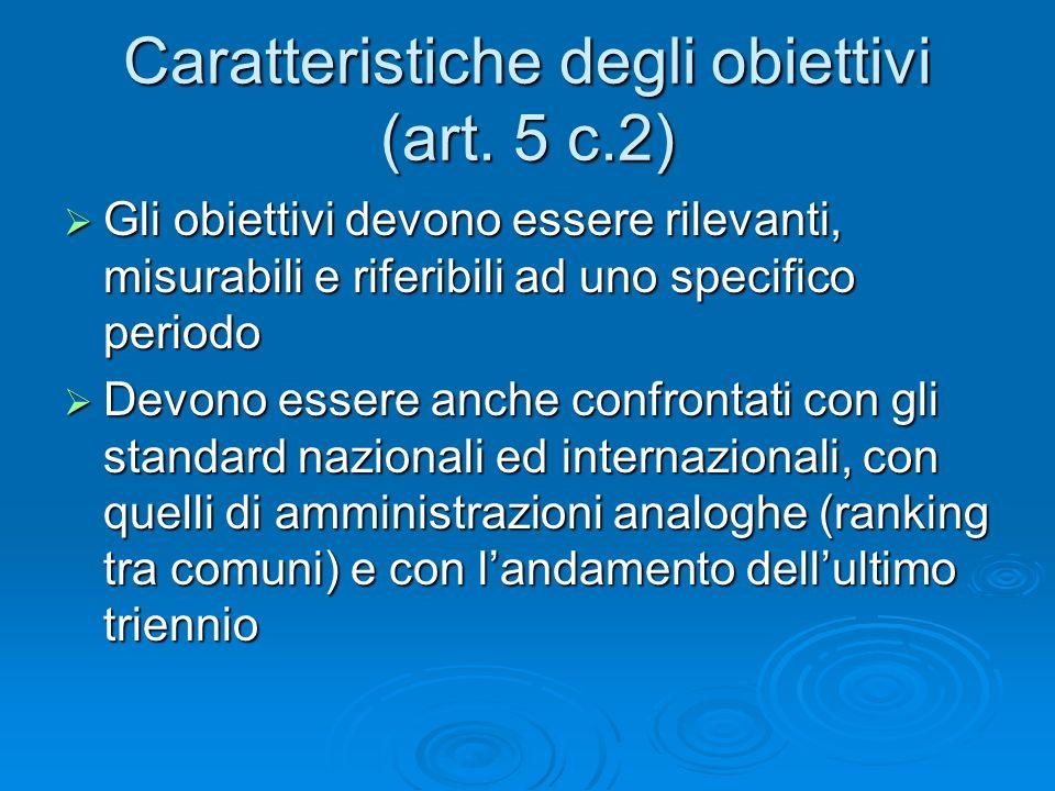 Caratteristiche degli obiettivi (art.