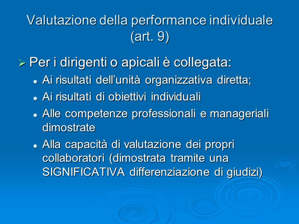 Valutazione della performance individuale (art.