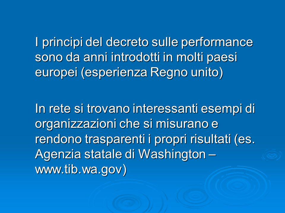 I principi del decreto sulle performance sono da anni introdotti in molti paesi europei (esperienza Regno unito) In rete si trovano interessanti esempi di organizzazioni che si misurano e rendono trasparenti i propri risultati (es.