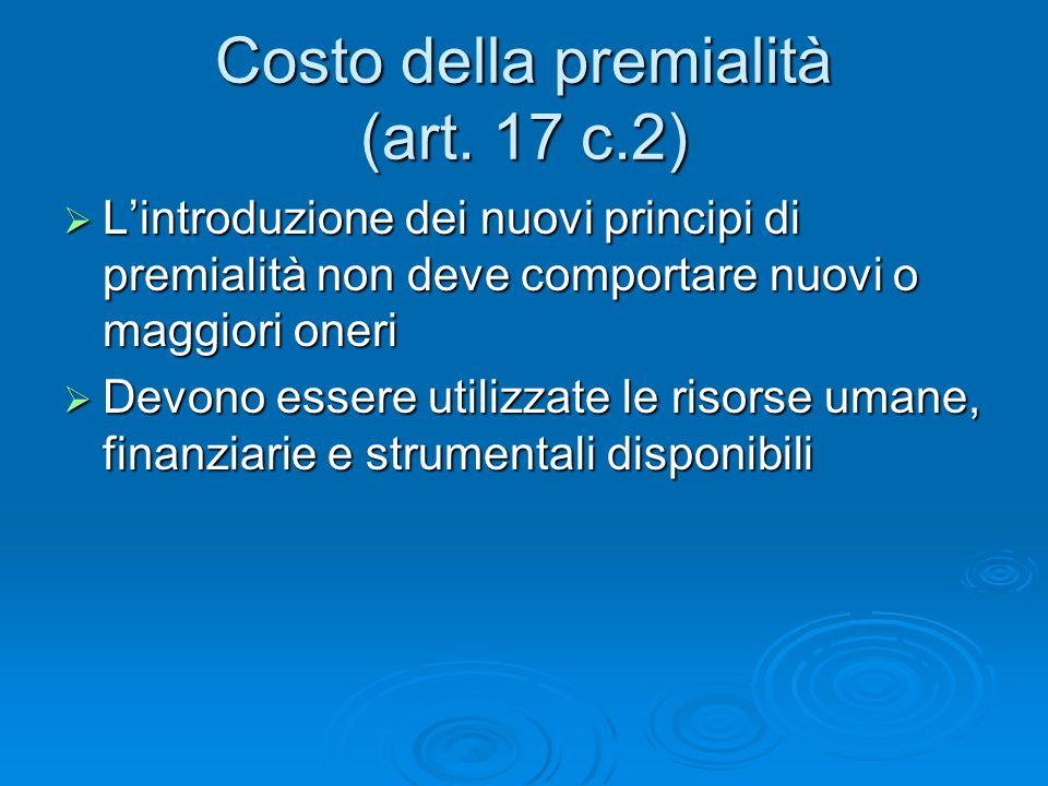 Costo della premialità (art.
