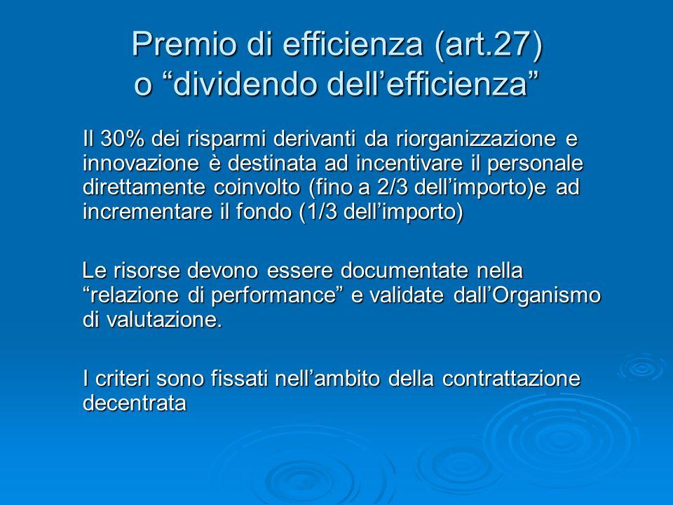 Premio di efficienza (art.27) o dividendo dellefficienza Il 30% dei risparmi derivanti da riorganizzazione e innovazione è destinata ad incentivare il personale direttamente coinvolto (fino a 2/3 dellimporto)e ad incrementare il fondo (1/3 dellimporto) Il 30% dei risparmi derivanti da riorganizzazione e innovazione è destinata ad incentivare il personale direttamente coinvolto (fino a 2/3 dellimporto)e ad incrementare il fondo (1/3 dellimporto) Le risorse devono essere documentate nella relazione di performance e validate dallOrganismo di valutazione.