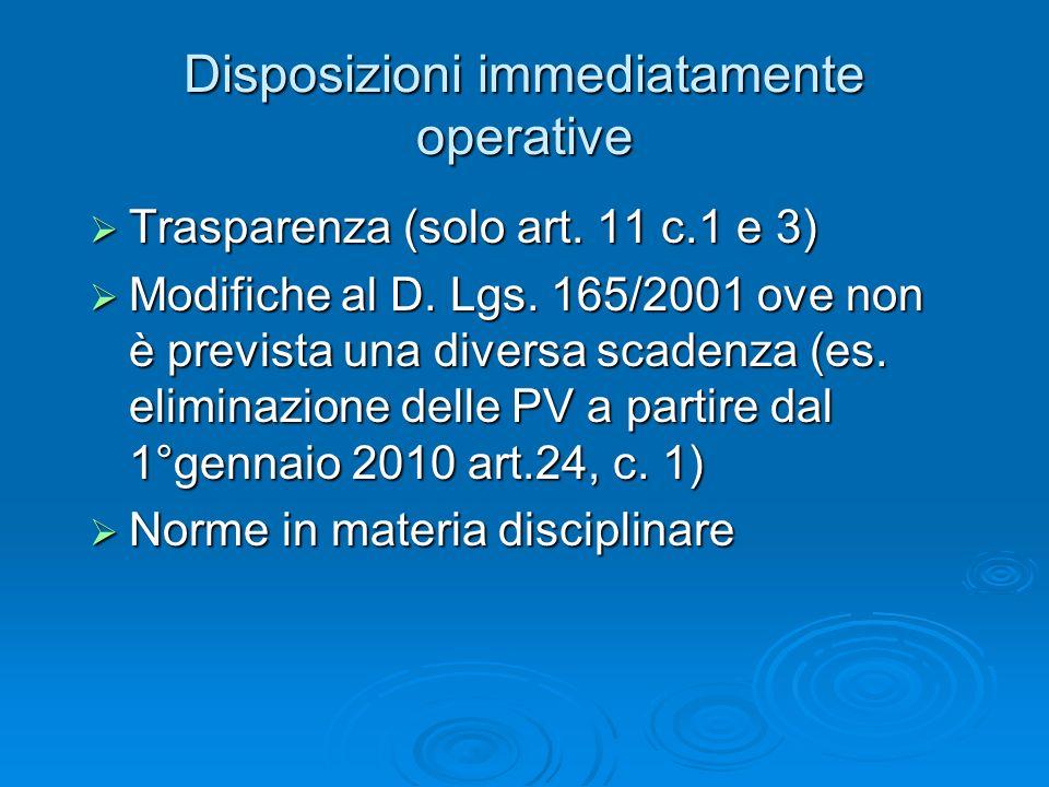 Disposizioni immediatamente operative Trasparenza (solo art.