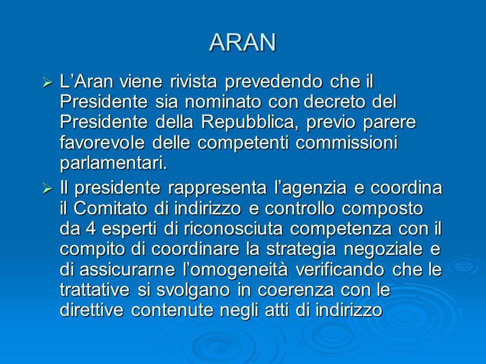 ARAN LAran viene rivista prevedendo che il Presidente sia nominato con decreto del Presidente della Repubblica, previo parere favorevole delle competenti commissioni parlamentari.