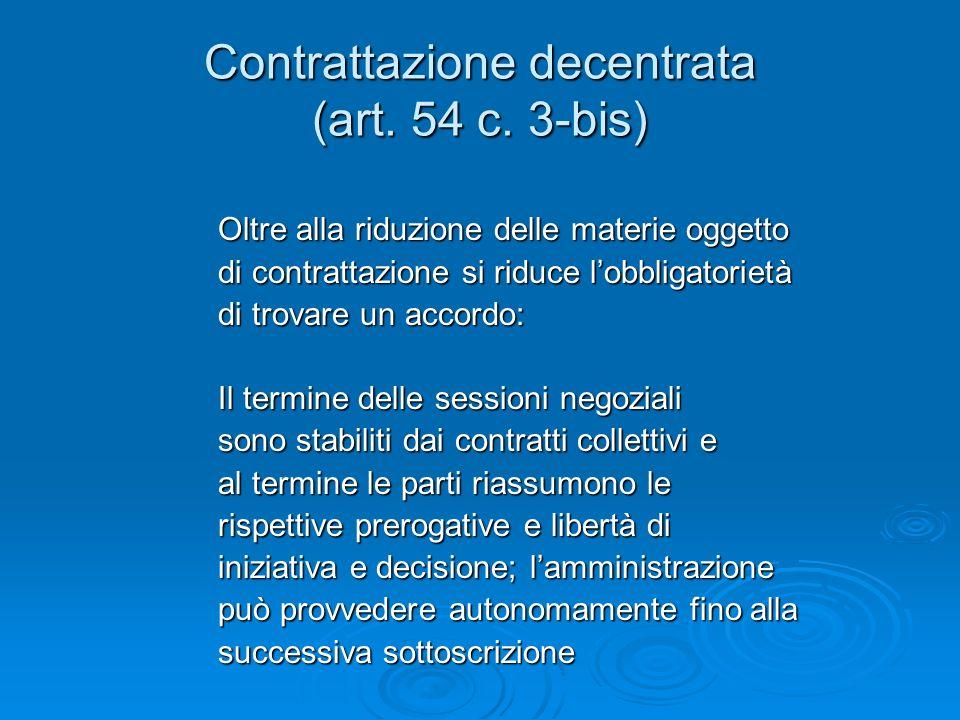 Contrattazione decentrata (art. 54 c.