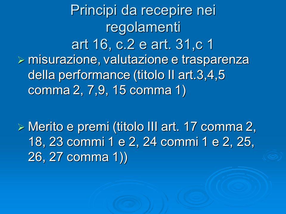 Principi da recepire nei regolamenti art 16, c.2 e art.
