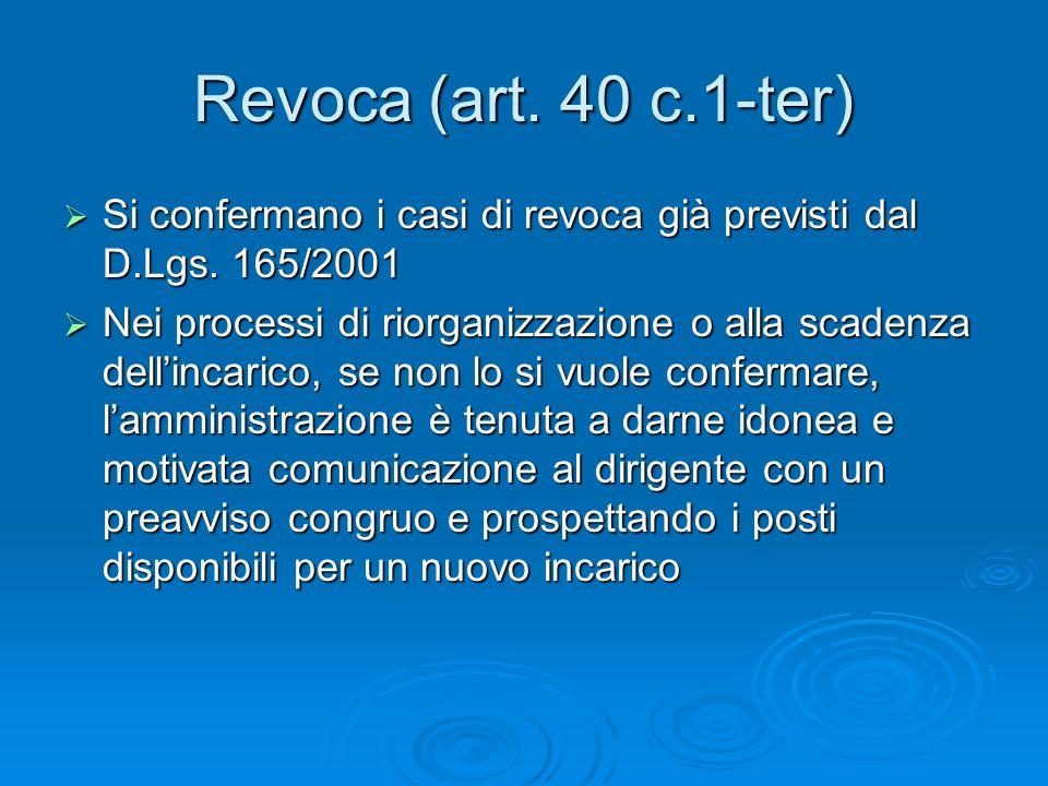 Revoca (art. 40 c.1-ter) Si confermano i casi di revoca già previsti dal D.Lgs.