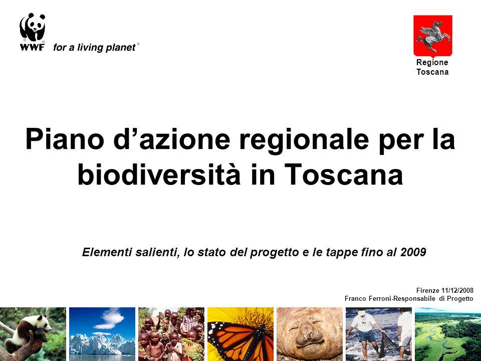 Elementi salienti, lo stato del progetto e le tappe fino al 2009 Piano dazione regionale per la biodiversità in Toscana Firenze 11/12/2008 Franco Ferroni-Responsabile di Progetto Regione Toscana