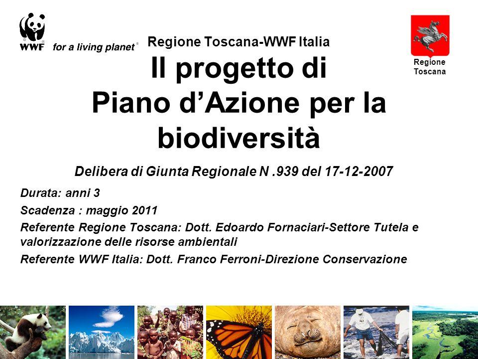 Regione Toscana-WWF Italia Il progetto di Piano dAzione per la biodiversità Durata: anni 3 Scadenza : maggio 2011 Referente Regione Toscana: Dott.