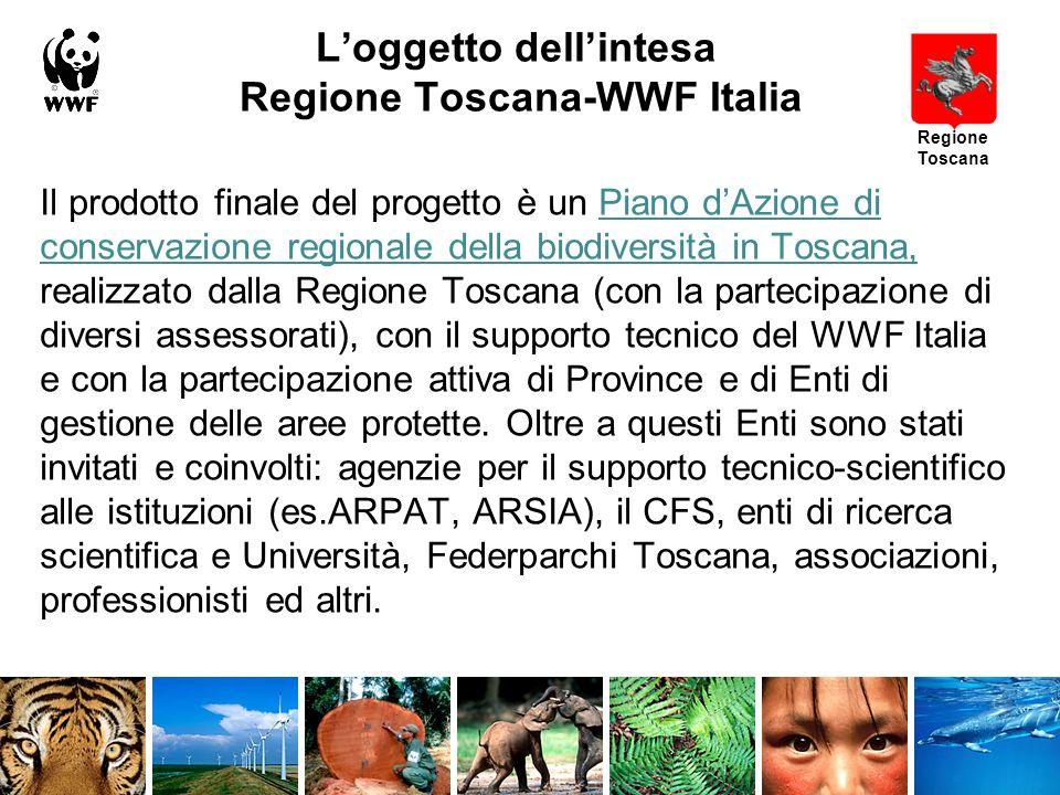 Loggetto dellintesa Regione Toscana-WWF Italia Il prodotto finale del progetto è un Piano dAzione di conservazione regionale della biodiversità in Toscana, realizzato dalla Regione Toscana (con la partecipazione di diversi assessorati), con il supporto tecnico del WWF Italia e con la partecipazione attiva di Province e di Enti di gestione delle aree protette.