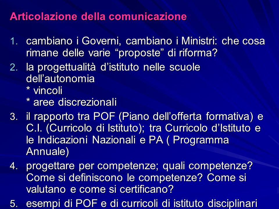1.Cambiano i Governi, cambiano i Ministri: che cosa rimane delle varie proposte di riforma.