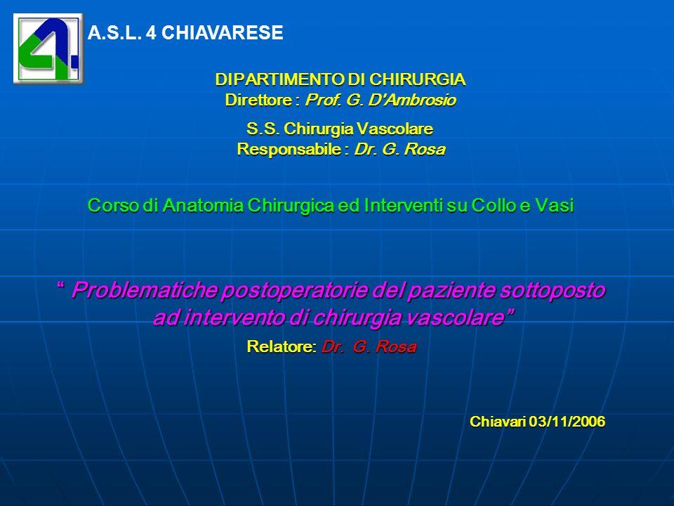 DIPARTIMENTO DI CHIRURGIA Direttore : Prof. G. D'Ambrosio S.S. Chirurgia Vascolare Responsabile : Dr. G. Rosa DIPARTIMENTO DI CHIRURGIA Direttore : Pr