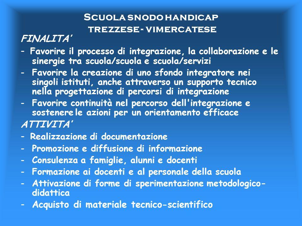Scuola snodo handicap trezzese - vimercatese FINALITA - Favorire il processo di integrazione, la collaborazione e le sinergie tra scuola/scuola e scuo