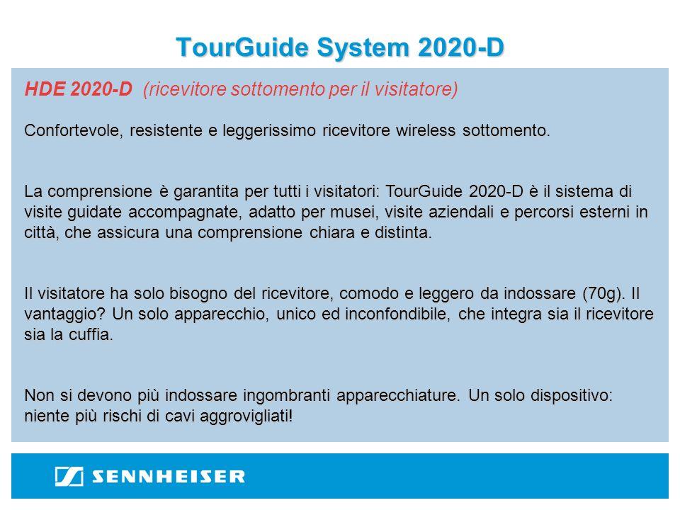 TourGuide System 2020-D HDE 2020-D (ricevitore sottomento per il visitatore) Il ricevitore si attiva e disattiva automaticamente nel momento in cui il visitatore lo indossa o la toglie, preservando quindi il consumo della batteria.