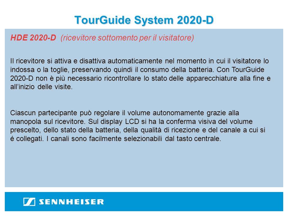 TourGuide System 2020-D HDE 2020-D (ricevitore sottomento per il visitatore) 6 canali per un utilizzo in contemporanea di 6 gruppi.
