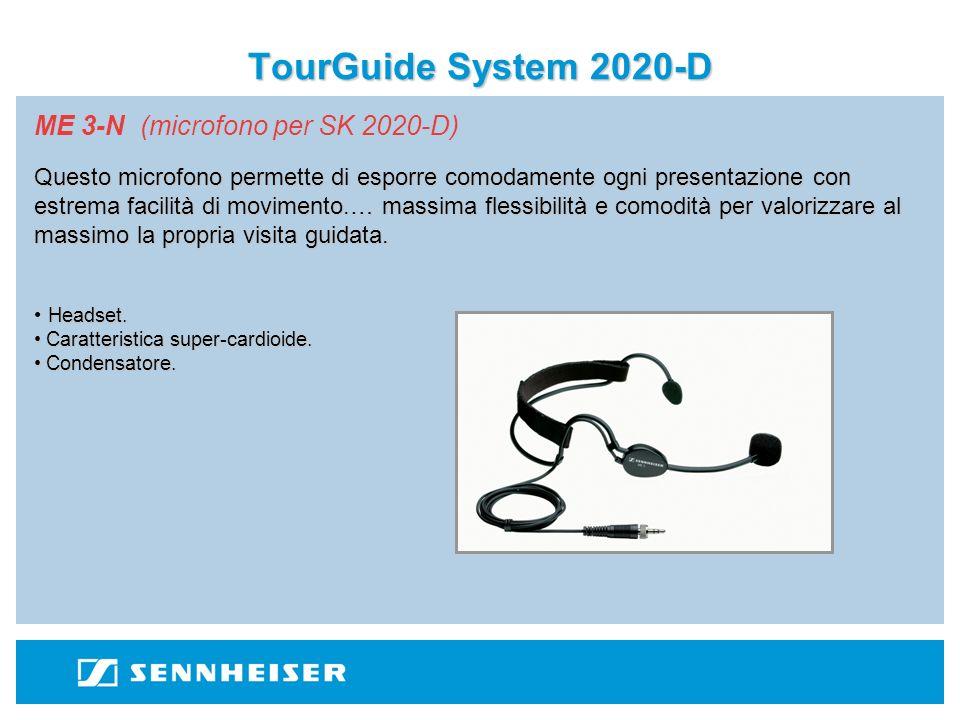TourGuide System 2020-D ME 3-N (microfono per SK 2020-D) Questo microfono permette di esporre comodamente ogni presentazione con estrema facilità di movimento.… massima flessibilità e comodità per valorizzare al massimo la propria visita guidata.