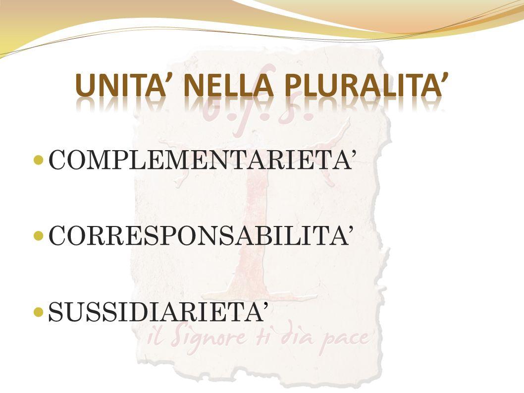 COMPLEMENTARIETA CORRESPONSABILITA SUSSIDIARIETA