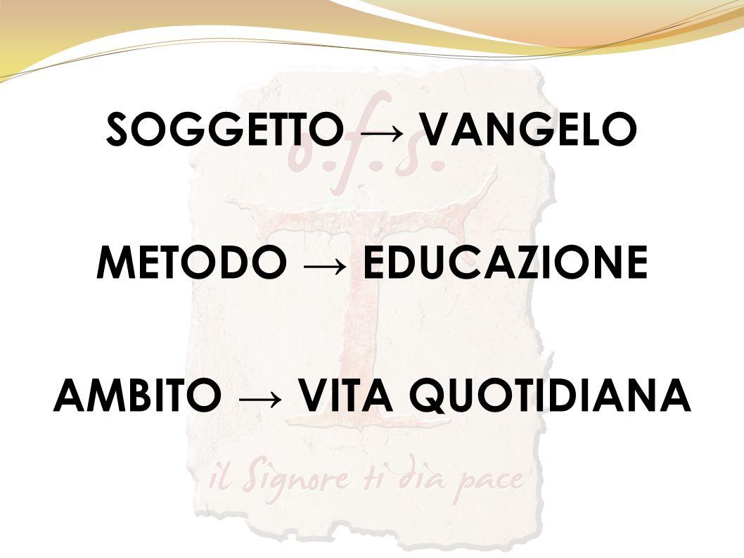 SOGGETTO VANGELO METODO EDUCAZIONE AMBITO VITA QUOTIDIANA