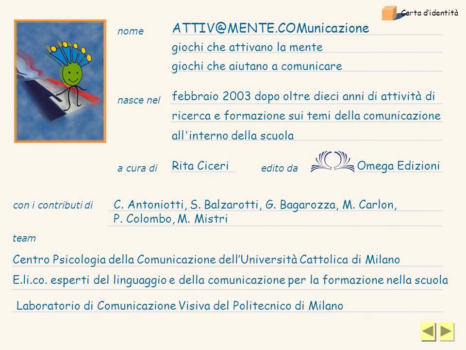 a cura di Rita Ciceri nome ATTIV@MENTE.COMunicazione giochi che attivano la mente giochi che aiutano a comunicare febbraio 2003 dopo oltre dieci anni di attività di ricerca e formazione sui temi della comunicazione all interno della scuola con i contributi di C.