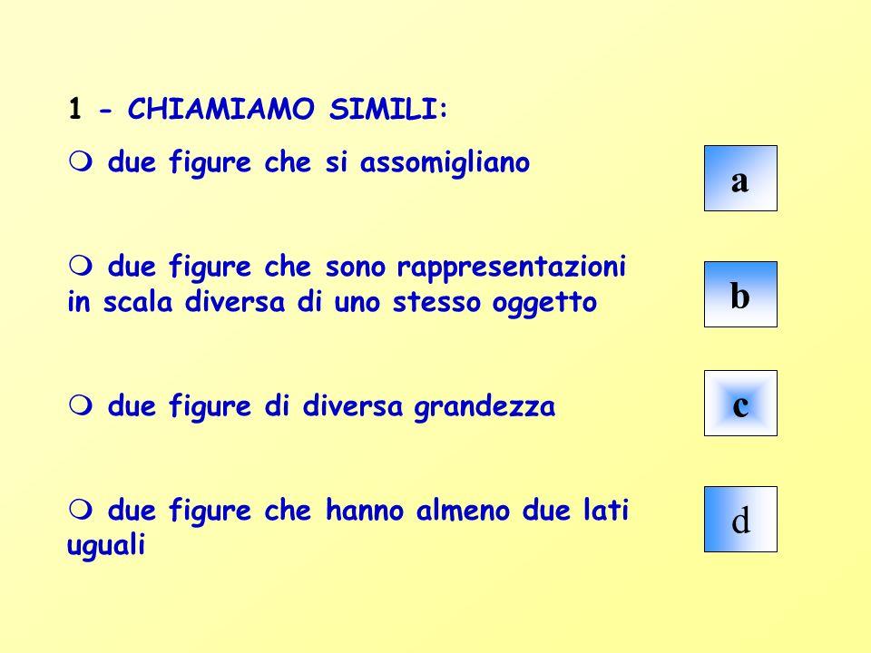 1 - CHIAMIAMO SIMILI: m due figure che si assomigliano m due figure che sono rappresentazioni in scala diversa di uno stesso oggetto m due figure di d