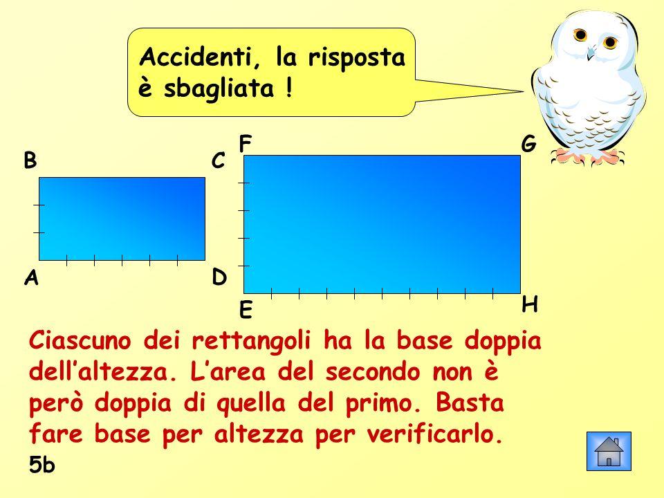 Accidenti, la risposta è sbagliata ! Ciascuno dei rettangoli ha la base doppia dellaltezza. Larea del secondo non è però doppia di quella del primo. B