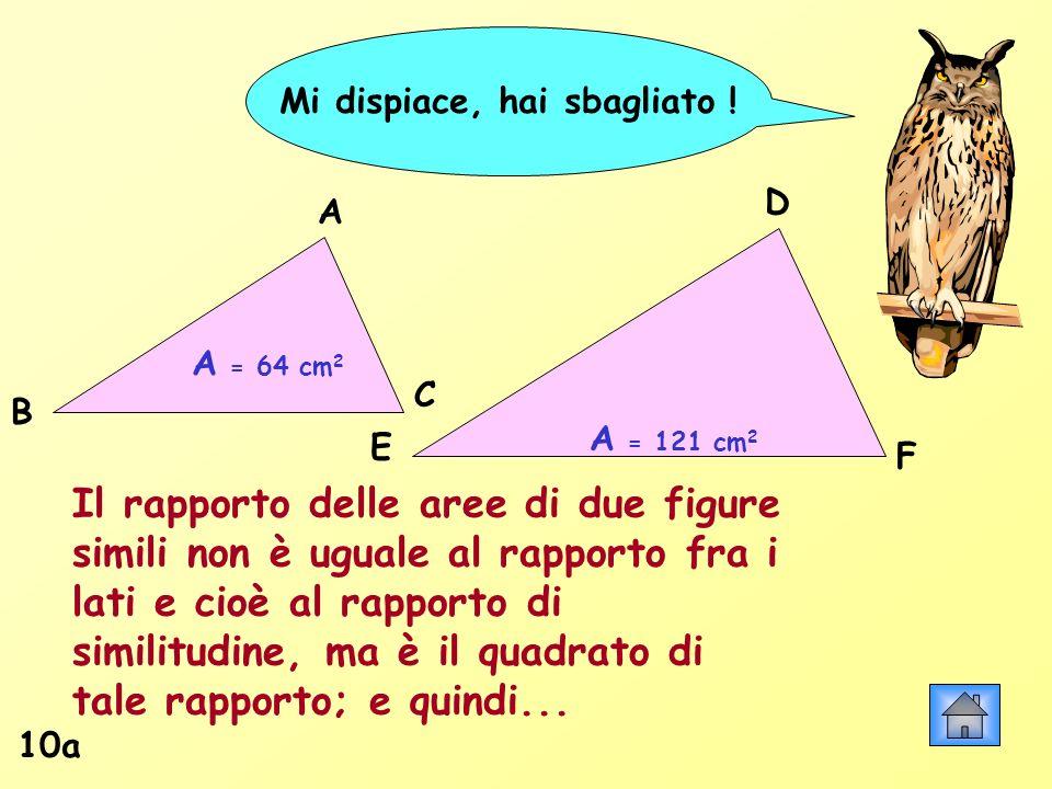 Mi dispiace, hai sbagliato ! 10a A = 64 cm 2 A = 121 cm 2 Il rapporto delle aree di due figure simili non è uguale al rapporto fra i lati e cioè al ra