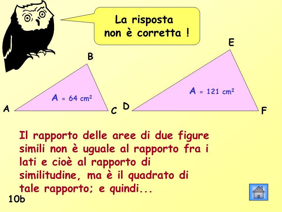 La risposta non è corretta ! 10b A = 64 cm 2 A = 121 cm 2 Il rapporto delle aree di due figure simili non è uguale al rapporto fra i lati e cioè al ra